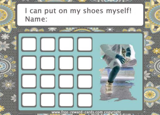 reward card 'put your shoes'