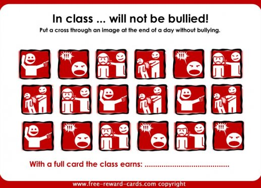 reward card bullying in class