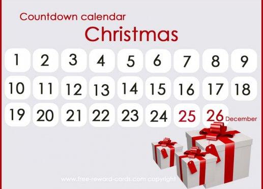 Days Until Christmas Printable.Free Countdown Calendars Website