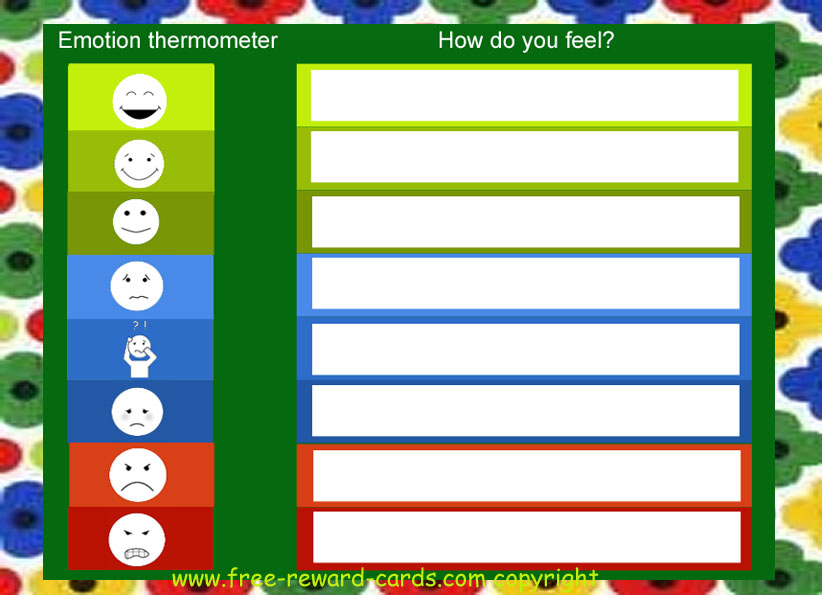 It is an image of Feelings Thermometer Printable inside classroom
