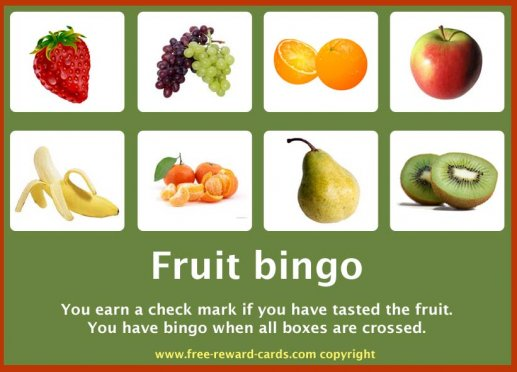 Reward card, fruit bingo