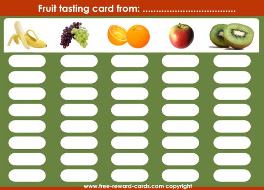 Fruit tasting reward chart