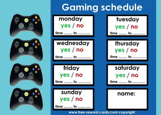 Gaming schedule for kids